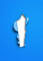 Blue torn paper with hole
