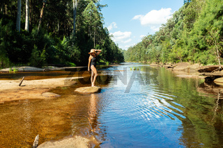Enjoying the tranquil waters of the Grose River Blue Mountains,