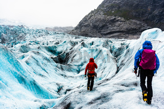 Nigardsbreen,Norway, August 17 2018:Tourists visit the Nigardsbreen Glacier.