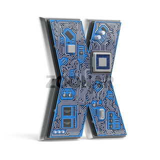 Letter X.  Alphabet in circuit board style. Digital hi-tech letter isolated on white.