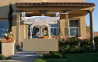 Unmanned Aircraft System (UAV) Quadcopter Drone Delivering Package To House
