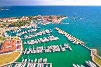 Novigrad Istarski historic Adriatic coastal town coast and marina aerial view