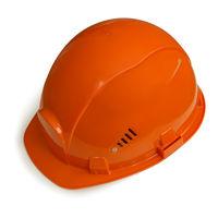 Orange helmet for builder worker isolated on white