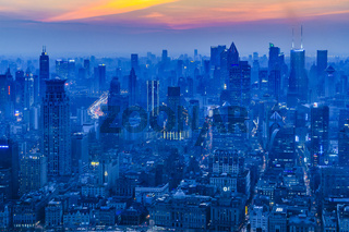 Lujiazui District Aerial View, Shanghai, China
