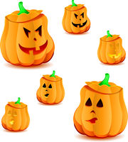 Set of halloween pumpkins with variations of illumination, part 15