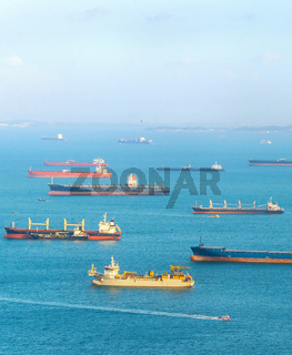 Industrial cargo shipping Singapore harbor