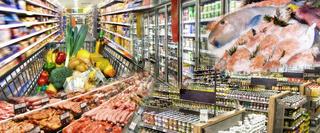 Breites Angebot an Lebensmitteln im Supermarkt