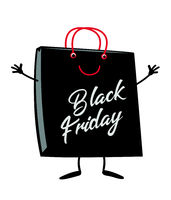 Black Friday Shopping bag cartoon character mascot