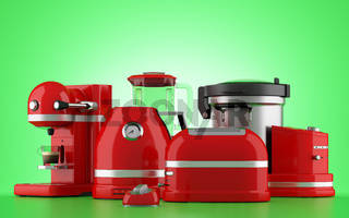 red kitchen appliances isolated on green background