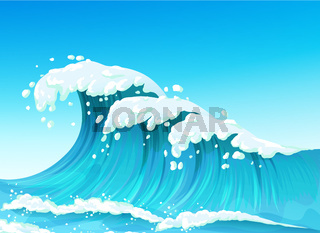 Big sea or ocean wave with splashes and white foam, seascape