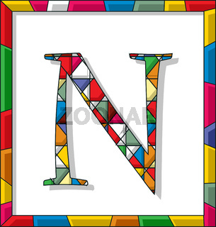 Letter N in stained glass
