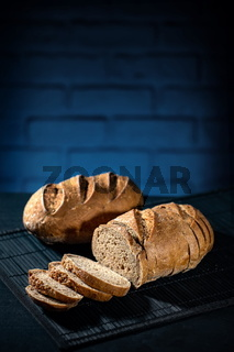 Gluten free bread on a  blue bricks background