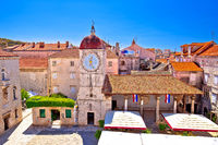UNESCO Town of Trogir main square panoramic view