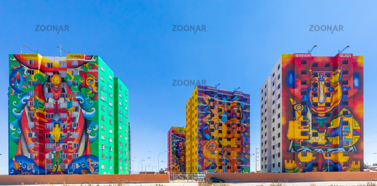 Bolivia La Paz Wiphala buildings panoramic view