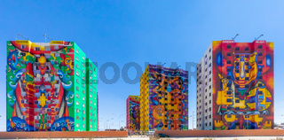 Bolivia La Paz Wiphala buildings panoramic view