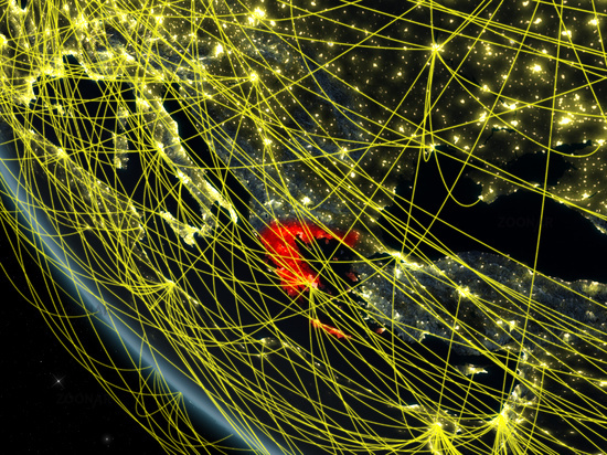 Network around Greece from space