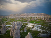 Sunset panoramic view to Goreme city, Cappadocia, Turkey