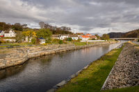 Spangereid , Norway - October 2019: Spangereidkanalen is an artificial canal to allow boats to pass the Lindesnes cape in all weathers.