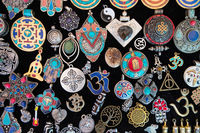 Pendant display at a market.