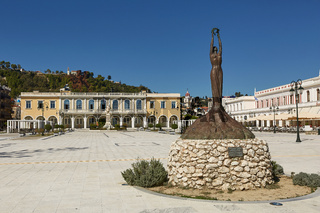 Artwork Statue and Main Square in Zakynthos Island, Ionian Sea, Greece, Europe.