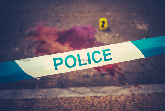 Crime Scene Tape And Blood