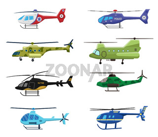 Military, police and medical helicopters icon set isolated on white background, air transport, aviation, vector illustration.