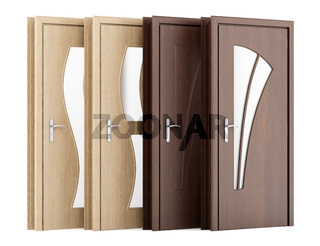 four wooden doors isolated on white background