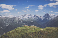 Panorama of mountains scene in national park Switzerland