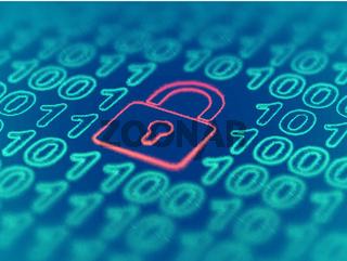 Data secure concept: padlock on binary code background. EPS 10 vector illustration