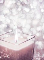 Blush pink aromatic candle on Christmas and New Years glitter background, Valentines Day luxury home decor and holiday season brand design