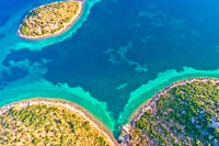 Mediterranean island bay aerial view