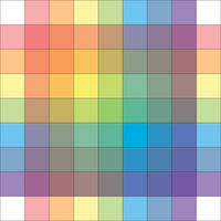 Polychrome Multicolor Spectral Versicolor Rainbow Grid of 9x9 segments. Aquarelle light spectral harmonic colorful palette of the painter.