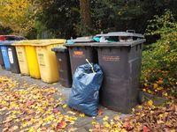 Bonn Germany, 12 November 2019: Trash bins installed outside in Bonn Germany
