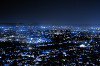 An night aerial view of Udaipur City