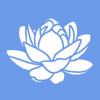 a modern blue and white simple lotus flower design