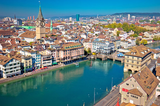 Zurich and Limmat river waterfront aerial view