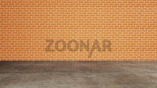 Orange brick wall and cement floor . 3d render illustration .