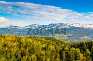 Scenic spring landscape of Giant Mountains - Karkonosze Mounatains, Poland