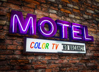 Retro Neon Motel Sign With Color TV