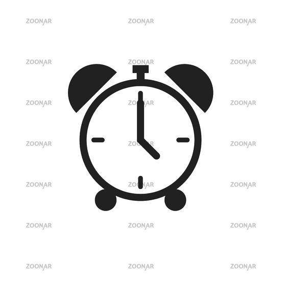 Alarm clock icon isolated on white background. Time retro symbol. Classic old alarm.
