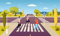 People walking on crosswalk, pedestrians crossing road at intersection