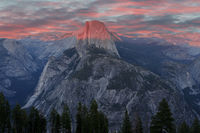 Sunset over Half Dome from Glacier Point.