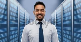 indian businessman over server room