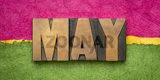 May month in wood type