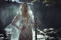 the legend of lady of the lake, beautiful woman with sword in white lace underwear, fantasy image