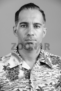 Face of mature handsome Persian man ready for vacation