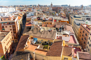Aerial view of the old town in Valencia, Spain
