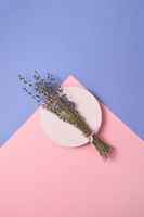 Creeting card with sprig of lavender on a plate.
