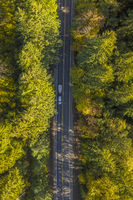 Overhead View Of A Highway On A Fall Day