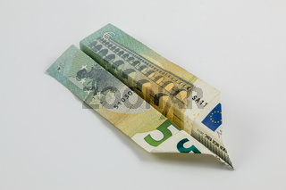 Euro banknotes and white background